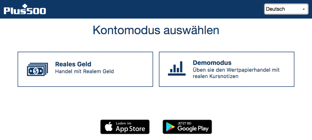 Reales Geld - Demomodus - Plus500